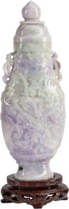 Other, A Chinese Carved Jadeite Urn and Cover. 7-1/2 inches high (19 cm)... (Total: 3 Items)