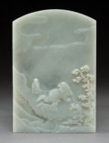 Asian:Chinese, A Chinese White Jade Table Screen with Landscape Motif, QingDynasty. 7-1/2 h x 5-1/8 w x 0-1/2 d inches (19.1 x 13.0 x 1.3 ...