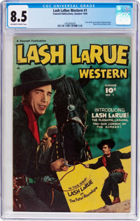Lash LaRue Western #1 (Fawcett Publications, 1949) CGC VF+ 8.5 Off-white to white pages