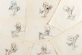 Animation Art:Production Drawing, I'm No Fool Jiminy Cricket Production Drawings Group of 8 (Walt Disney, 1956).... (Total: 8 Original Art)