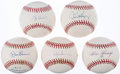 Autographs:Baseballs, New York Yankees Greats & Hall of Famers Single Signed Baseball Lot of 5.. ...