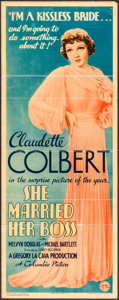 """Movie Posters:Comedy, She Married Her Boss (Columbia, 1935). Insert (14"""" X 36""""). Comedy.. ..."""