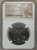 Ancients:Ancient Lots , Ancients: ANCIENT LOTS. Roman Republic. Ca. 169-158 BC. Lot of two(2) AE asses. NGC VF... (Total: 2 coins)
