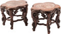 Asian, A Pair of Chinese Marble-Inset Hardwood Stands. 7-1/2 inches high(19 cm)... (Total: 2 Items)