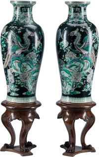 A Large Pair of Chinese Famille Noir Porcelain Vases 41 inches high (104.1 cm)