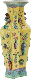 Asian, A Chinese Enameled Yellow-Ground Double Lozenge Vase, 20th century.22-1/2 inches high (57.1 cm)...