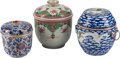Asian, Three Chinese Porcelain Pots and Covers. Largest 9 inches high(22.8 cm)... (Total: 6 Items)