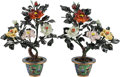 Asian, A Pair of Chinese Hardstone and Cloisonné Enamel Flowerpots. 20inches high (50.8 cm)... (Total: 2 Items)