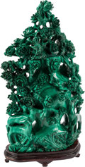 Asian, A Large Chinese Carved Malachite Urn and Cover. 15 inches high(38.1 cm)... (Total: 2 Items)