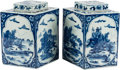 Asian, A Pair of Chinese Blue ad White Porcelain Lozenge Form Jars andCovers. 12 inches high (30.4 cm)... (Total: 2 Items)