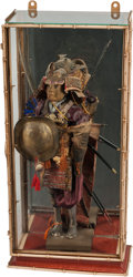 Asian, A Japanese Wood, Silk, Lacquer and Mixed Metal Figure of a Samurai.23 inches high (58.4 cm)... (Total: 2 Items)