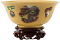 Asian, A Chinese Green and Aubergine Decorated Yellow Ground PorcelainBowl Marks: Six-character Chenghua mark but of a later perio...(Total: 2 Items)