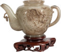 Asian:Chinese, A Chinese Mottled Jade Wine Pot. 7 inches wide (17.7 cm)... (Total:2 Items)