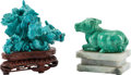 Asian, Two Chinese Turquoise Carvings. 3 inches high (7.6 cm)... (Total: 3Items)