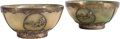 Asian, A Pair of Chinese White Metal Mounted Jade Bowls. 4-1/4 inches wide(10.7 cm)... (Total: 2 Items)