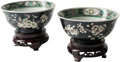 Asian, A Pair of Chinese Famille Noir Porcelain Bowls. 3 inches high x5-1/2 inches wide (7.6 cm x 13.9 cm)... (Total: 4 Items)