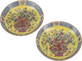 Asian:Chinese, A Pair of Chinese Yellow Ground Enameled Porcelain Dishes, 20th century. Marks: Six-character Yongzheng mark and of a later ... (Total: 4 Items)