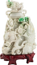 Asian, A Chinese Carved Jadeite Urn and Cover, 20th century. 6-1/2 incheshigh (16.5 cm)... (Total: 3 Items)