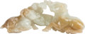 Asian, A Chinese Carved Jade Rams Grouping, 20th century. 4-1/2 incheshigh (11.4 cm)...