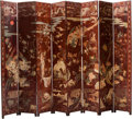 Asian, A Chinese Scarlet Lacquered Coromandel Eight-Panel Room Screen,20th century. 93 inches high (236.2 cm). ...