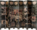 Asian, A Chinese Lacquered and Painted Coromandel Eight-Panel Room Screen,20th century. 95 inches high (241.3 cm)...