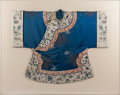 Asian, A Chinese Embroidered Mandarin Blue Silk Robe, late Qing Dynasty.51 inches high x 64 inches wide (129.5 x 162.6 cm) (framed...