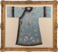 Asian:Chinese, A Chinese Mandarin Blue Silk Embroidered Robe, late Qing Dynasty.41 inches high x 53-1/2 inches wide (104.1 x 135.9 cm) (ro...