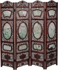 Asian, A Chinese Carved Hardwood and Jade Four-Panel Room Screen, 20thcentury . 73 inches high (185.4 cm)...