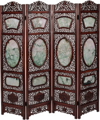 A Chinese Carved Hardwood and Jade Four-Panel Room Screen, 20th century 73 inches high (185.4 cm)