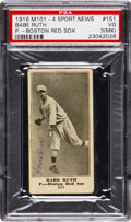 Baseball Cards:Singles (Pre-1930), 1916 M101-4 The Sporting News Babe Ruth Rookie #151 PSA VG 3 (MK)....