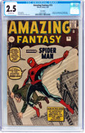 Silver Age (1956-1969):Superhero, Amazing Fantasy #15 UK Edition (Marvel, 1962) CGC GD+ 2.5 Off-white pages....