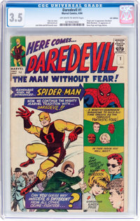 Daredevil #1 UK Edition (Marvel, 1964) CGC VG- 3.5 Off-white to white pages