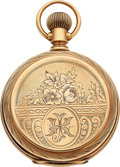 Timepieces:Pocket (pre 1900) , Waltham 14k Gold Fancy Dial Non-Magnetic Private Label Model 83....