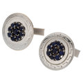 Estate Jewelry:Cufflinks, Synthetic Sapphire, White Gold Cuff Links. ...