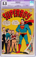 Golden Age (1938-1955):Superhero, Superboy #1 (DC, 1949) CGC Apparent FN- 5.5 Slight to Moderate (B-2) Off-white to white pages....