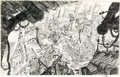 Animation Art:Concept Art, The Prince and the Pauper Street Scene Overhead View Concept Drawing (Walt Disney, 1990). ...