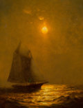 Fine Art - Painting, American, Warren Sheppard (American, 1858-1937). Moonlit Sail. Oil oncanvas. 10-1/4 x 8-1/4 inches (26.0 x 21.0 cm). Signed indis...