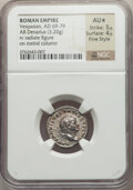 Ancients:Roman Imperial, Ancients: Vespasian (AD 69-79). AR denarius (18mm, 3.20 gm,7h). NGC AU ★ 5/5 - 4/5, Fine Style. ...