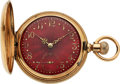Timepieces:Pocket (pre 1900) , Waltham Unique Gold Up-Jeweled 14 Size With Special Damaskeening& Fancy Red Dial. ...