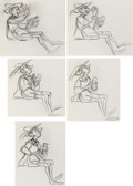 Animation Art:Concept Art, The Black Cauldron Fflewddur Fflam Early Version Concept Drawings Group of 5 (Walt Disney, 1985).... (Total: 5 Items)