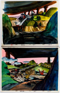 Animation Art:Painted cel background, Mining Operations Scene Painted Backgrounds Group of 2 (c.1970s-80s).... (Total: 2 Items)