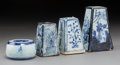 Asian:Chinese, Four Korean Blue and White Porcelain Incense Stands. 5-1/4 incheshigh (13.3 cm) (tallest). ... (Total: 4 Items)