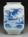 Asian:Chinese, A Chinese Celadon Glazed, Blue and White Porcelain Vase, 20thcentury. 13-1/4 inches high (33.7 cm). ...