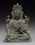 Asian:Chinese, A Chinese Bronze Seated Guanyin Figure, Ming Dynasty. 7 inches high(17.8 cm). ...