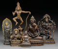 Asian:Chinese, Six Various Asian Bronze Deities. 10 inches high (25.4 cm)(tallest). ... (Total: 6 Items)