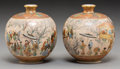 Asian:Japanese, A Pair of Japanese Satsuma Globular Vases. Marks: six-charactermark in gold. 3-3/4 inches high (9.7 cm). ... (Total: 2 Items)