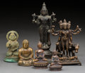 Asian:Chinese, Six Various Sino-Tibetan Bronze Deities. 8-3/4 inches high (22.2cm) (tallest). ... (Total: 6 Items)