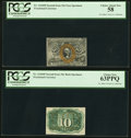 Fractional Currency:Second Issue, Fr. 1244SP 10¢ Second Issue Narrow Margin Pair PCGS Graded.. ... (Total: 2 notes)