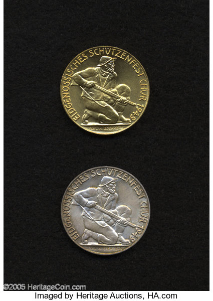 Switzerland: Chur Shooting Medals in Gold and Silver 1949, | Lot