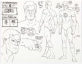 animation art:Model Sheet, Alex Toth Super Friends Green Lantern Model Sheet Animation Original Art (Hanna-Barbera, 1977)....